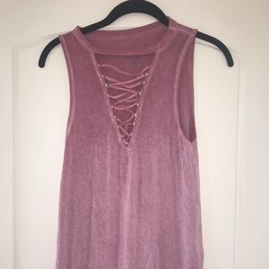 Tops - Pink lace up shirt